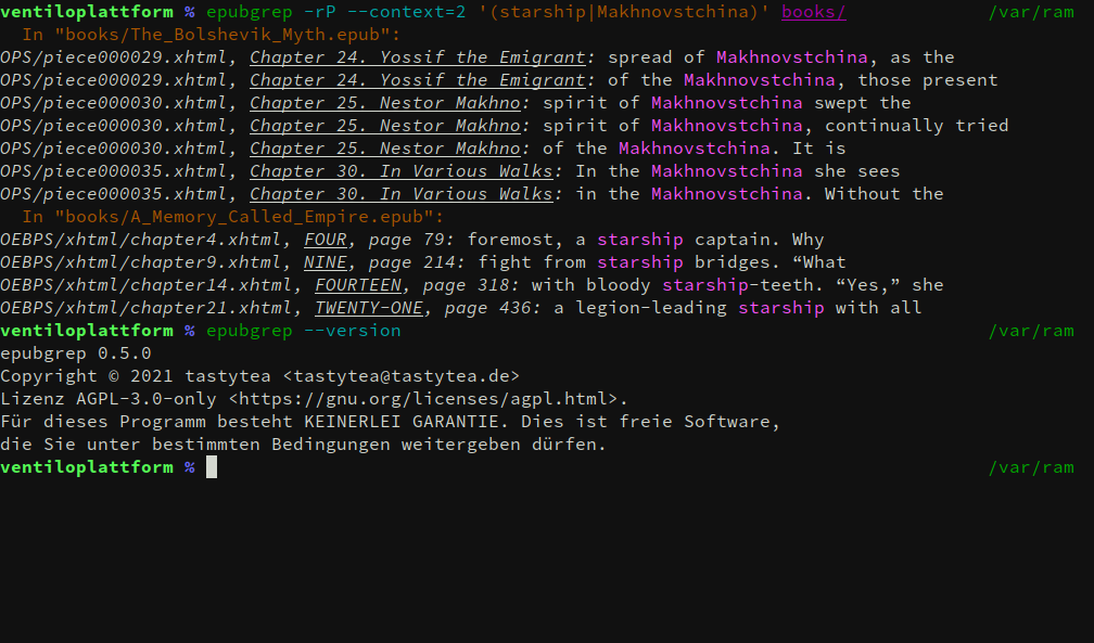 Screenshot of epubgrep, showing the output of 2 book searches.